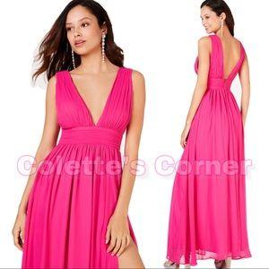 Deep-V Hot Pink Chiffon Gown W/ High Split